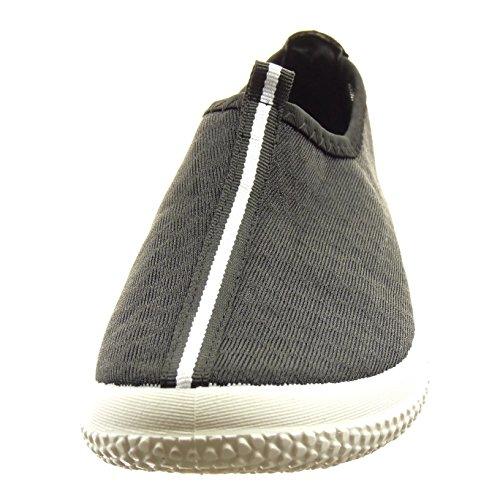 Sopily - damen Mode Schuhe Sneaker Linien - Schwarz
