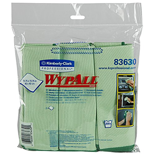 """Wypall Microfiber Cloths (83630), Reusable, 15.75"""" x 15.75"""", Green for Glass and Mirrors, 4 Packs/Case, 6 Wipes/Container, 24 Wipes/Case by Wypall"""