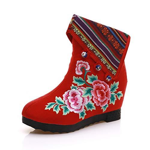 Caldi Caldi Caldi Red Scarponi Aumentare da Gli Gli Gli Gli Etnico Stile da Stivale Neve Tondo per Donna Interno 7aqa6xT