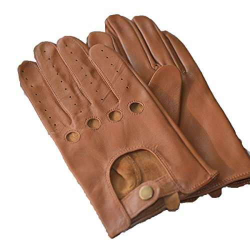 HOMEE Men'S Leather Drives Gloves Thin Repair Design Leakage Four Seasons Available,Brown,Medium by HOMEE