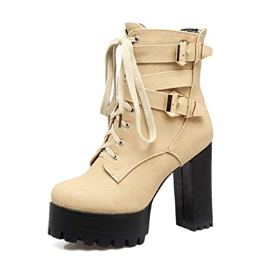 995ad540ecac1 Amazon.com | Women's Ankle Boots Round Toe Thick Bottom Square High ...