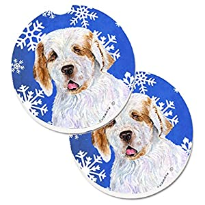 Caroline's Treasures SS4638CARC Clumber Spaniel Winter Snowflakes Holiday Set of 2 Cup Holder Car Coasters, Large, multicolor 25
