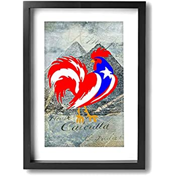 SRuhqu Canvas Wall Art Prints Puerto Rico Flag Rooster -Photo Paintings Contemporary Home Decoration Giclee Artwork-Wood Frame Ready to Hang