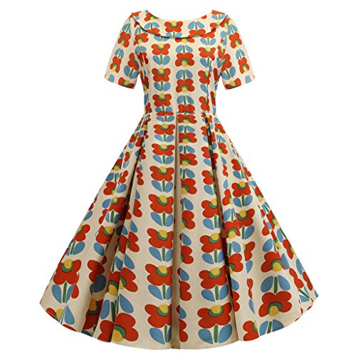 Sunhusing Ladies Cute Doll Neck Small Floral Flower Print Zipper Dress Backless Bow Large Swing Pleated Dress
