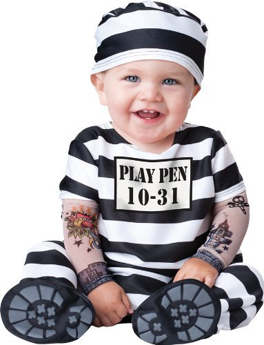 InCharacter Costumes Baby's Time Out Convict Costume, Black/White, Large (Money Makes The World Go Round Tattoo)