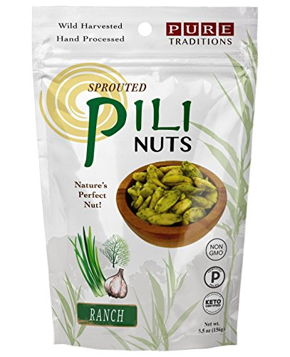 Sprouted Pili Nuts, Ranch, 100% Raw, Certified Paleo & Keto (5.5 oz)