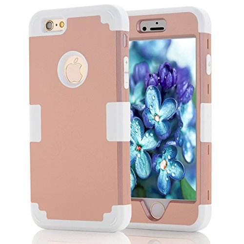 Apple iPhone 6 / Apple iPhone 6s 4.7 inch Coque, Moonmini® Ultra mince protection antichoc Combo Goutte protection Case Coque Housse Etui pour Apple iPhone 6 / Apple iPhone 6s 4.7 inch, Rose Gold + g