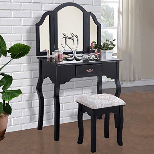 Giantex Tri Folding Mirror Vanity Makeup Table Set with Cushioned Stool & Storage Drawer Wood Furniture, Black