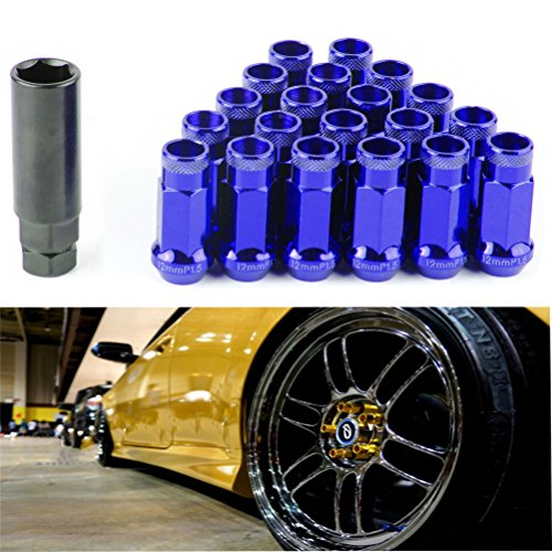 - EDJIAN 20 PCS Aluminum Acorn Conical 12x1.25 Thread Size Wheel Lug Nuts Open End With Key(blue)