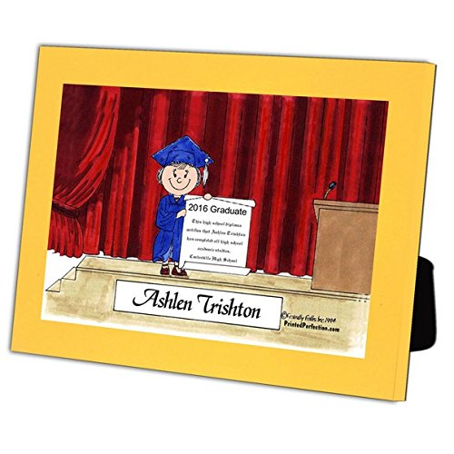 Personalized Friendly Folks Cartoon Caricature in a Color Block Frame Gift: Graduation - Female Great for high school, college, tech school graduation by Printed Perfection (Image #2)