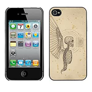 Colorful Printed Hard Protective Back Case Cover Shell Skin for Apple iPhone 4 / iPhone 4S / 4S ( Angel Death Wings Hell Skeleton Skull )