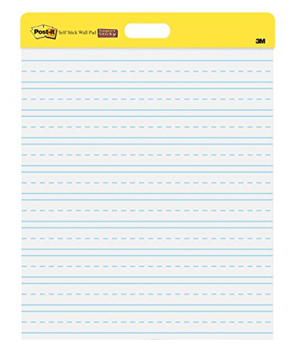 Post-it Primary Ruled Self-Stick Wall Pad, 20 x 23 Inches...