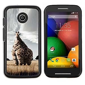 LECELL--Funda protectora / Cubierta / Piel For Motorola Moto E -- Jirafa Arte Savannah Safari Arte África Animal --