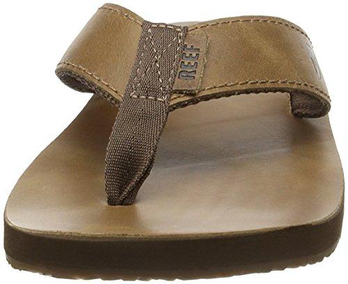 Reef Leather Smoothy, Sandalias Flip-Flop Hombre Marrón