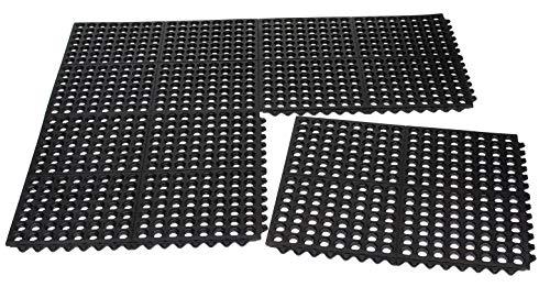 (BIRDROCK HOME 4 pc Indoor Outdoor Drainage Utility Mat   20 x 24   Kitchen Non Slip Floor Mat for Kitchen Industrial   Durable Restaurant   Black)