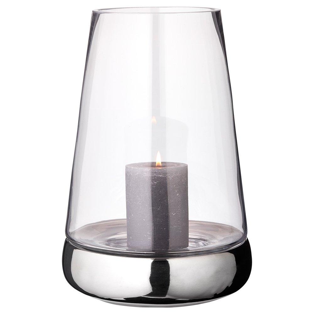 EDZARD Windlicht Bora glatt, Höhe 34 cm, Glas mit vernickeltem Keramikfuß