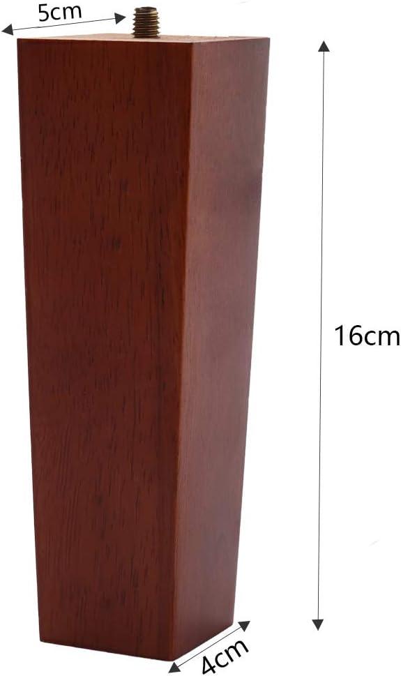 otomana silla silla color marr/ón Patas cuadradas de madera de roble macizo M8 de repuesto para sof/á sof/á mesa mesa silla silla 16 cm silla armario de escritorio