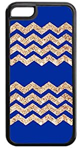 Navy 2 Set Glitter-Look Chevrons- Case for the APPLE IPHONE 6 plus ONLY-Hard Black Plastic Outer Case