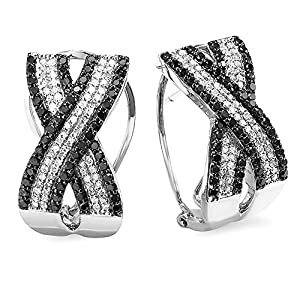 1.50 Carat (ctw) 10k White Gold Round Black and White Diamond Hoop Earrings
