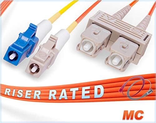 Fiber Optic Conditioning Patch Cable (1M LC to SC Mode Conditioning Fiber Patch Cable | Fiber Optic LC Mode-Conditioning to SC Fiber Patch Cable 1 Meter (3.28ft) | Length Options: 1M-15M | FiberCablesDirect | Alt: mc patch sm lc to sc mm)