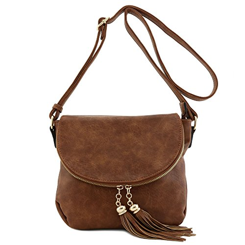 Tassel Accent Crossbody Bag with Flap Top Brown
