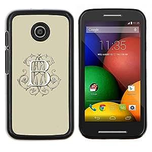 B Letra inicial Beige Caligrafía Blanca- Metal de aluminio y de plástico duro Caja del teléfono - Negro - Motorola Moto E / XT1021 / XT1022