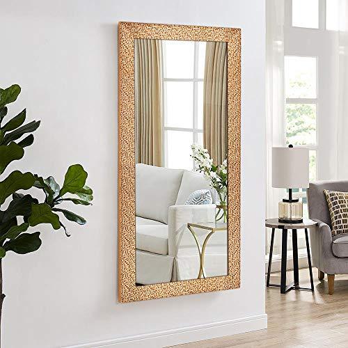 Hans & Alice Large Rectangular Bathroom Mirror, Wall-Mounted Wooden Frame Vanity Mirror - Bathroom Updates Mirrors Gold