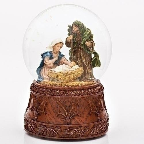 'Musical 6.75'' Holy Family Glitterdome (Carved Wood Base) (Roman 3558-7) by Romans