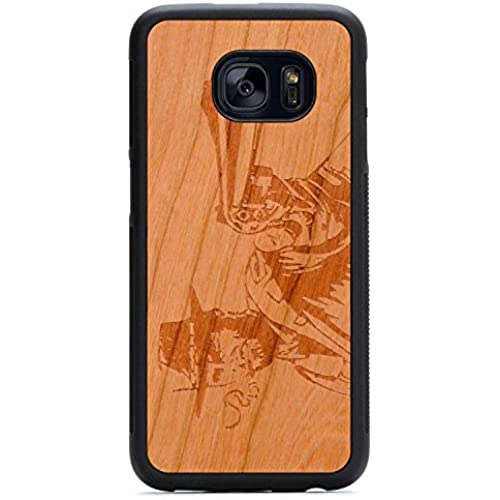 Carved Wild West Engraved Cherry Samsung Galaxy S7 edge Traveler Wood Case - Black Protective Bumper with Real Sales
