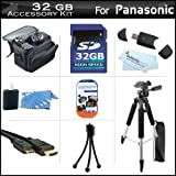 32GB Accessory Kit For Panasonic HDC-TM90K 3D Compatible Camcorder Includes 32GB High Speed SD Memory Card + 57'' Full Size Tripod w/ Case + Deluxe Case + Mini HDMI Cable + LCD Screen Protectors + USB 2.0 SD Card Reader + MicroFiber Cleaning Cloth + More