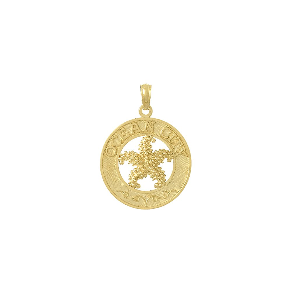 14k Yellow Gold Travel Charm, Ocean City On Round Frame with Starfish Center