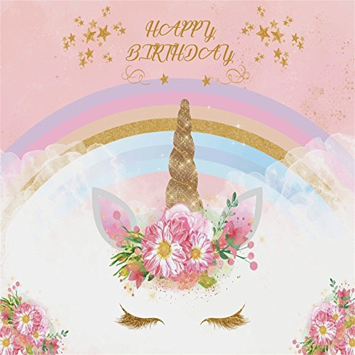 LFEEY 5x5ft Pink Flowers Unicorn Birthday Backdrop Colorful Rainbow Kids Baby Girl Happy Birthday Photo Background Party Decorations Photo Studio Props -