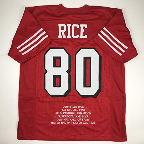 Unsigned Jerry Rice San Francisco Alternate Red Stat Custom Stitched Football Jersey Size Men's XL New No Brands/Logos