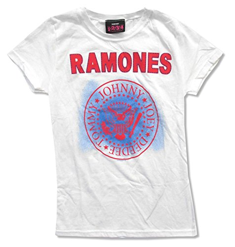 Juniors Ramones Stitch Name With Seal Logo White Baby Doll T-Shirt (X-Large)