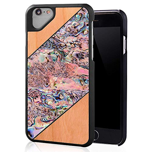 iPhone 6/ iPhone 6S Case Natural Seashell Phone Cover Compatible with iPhone 6 / iPhone 6S (Abalone/Wood-2) (Natural Shell Iphone 6)