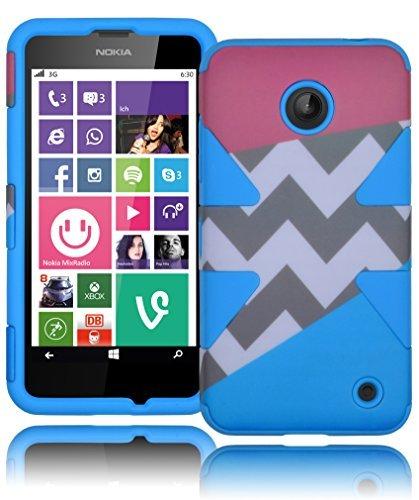 Bastex Heavy Duty Dynamic Hybrid Hard Defender Case for Nokia Lumia 635 - Sky Blue Silicone Cover with Pink Aztec Tribal Print Chevron Design Shell (Girly Nokia Lumia 635 Cases)
