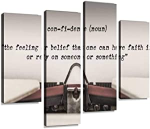 Confidence - Definition of The Word typed Canvas Wall Art Hanging Paintings Modern Artwork Abstract Picture Prints Home Decoration Gift Unique Designed Framed 4 Panel