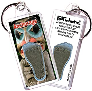 "product image for Anchorage ""FootWhere"" Souvenir Keychain. Made in USA. (ANC101 - Totem Pole)"