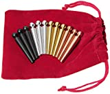 Metal Cribbage Pegs EXTRA Large Ball Top _ Set of 12 pegs in 4 Colors _ For Specialized Cribbage Boards _ Bonus Soft Red Velveteen Storage Pouch