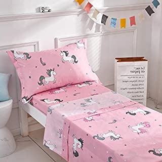 Uozzi Bedding 3 Pieces Microfiber Toddler Sheet Set Girls Pink Unicorn Style with Fitted Sheet, Flat Sheet and Envelope Pillowcase, Soft Skin-Friendly and Hypoallergenic Design