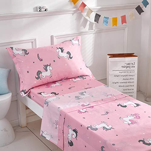 Uozzi Bedding 3 Pieces Microfiber Toddler Sheet Set Girls Pink Unicorn Style with Fitted Sheet, Flat Sheet and Envelope Pillowcase, Soft Skin-Friendly and Hypoallergenic Design (Toddler Bed Sheet Sets)