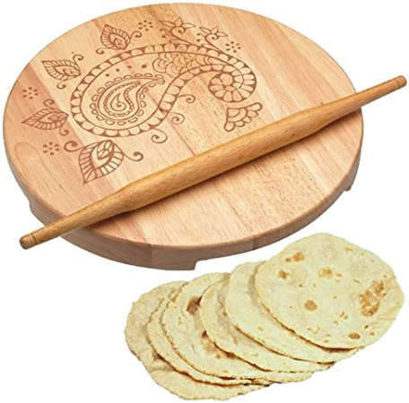 Indian wooden chapati roti puri rolling board avec rolling pin
