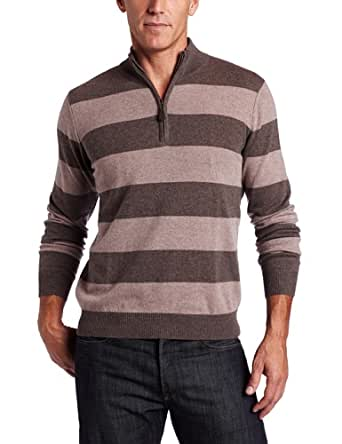 Williams Cashmere Men's 100% Cashmere   Mock Neck Stripe Sweater, Brown Combo, Large