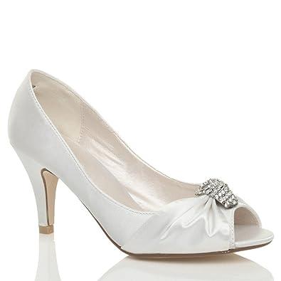 Womens Baby Pink Kitten Heel Satin Wedding Shoes SIZE 3-8: Amazon
