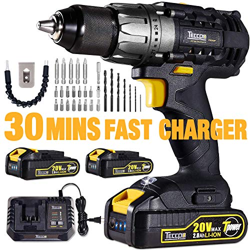 Cordless Drill, 20V Drill Driver 2x2000mAh Batteries, 30Min Fast Charger 4.0A, 530 In-lbs Torque, 24+1 Torque Setting, 2-Variable Speed, 29pcs Accessories, 1/2