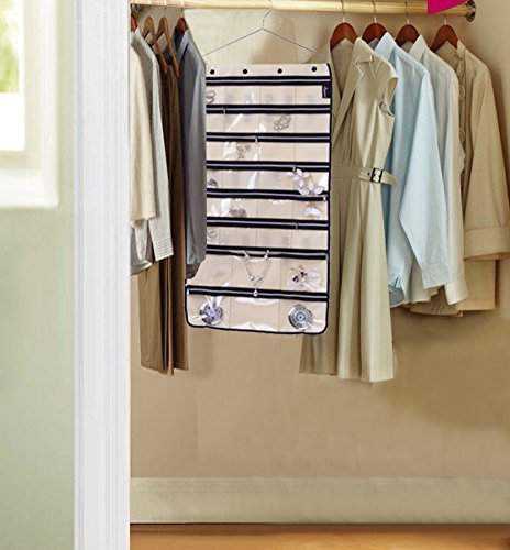 MISSLO Zippered Jewelry Organizer Hanging For Travel Home Storage 30 Zippered Pockets 17 Loops, Beige by MISSLO (Image #6)