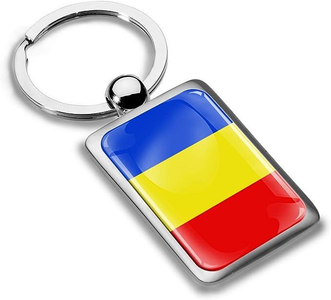 Biomar Labs Schlüsselanhänger Metall Keyring Autoschlüssel Geschenk Metall Schlüsselanhänger Schlüsselbund Edelstahl Rumänien Flagge Romania Kk 241 Bekleidung