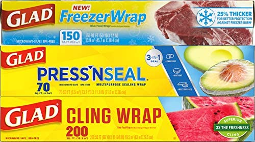 Glad Plastic Food Wrap Variety Pack - Press'n Seal Wrap - FreezerWrap - HangWrap (Pack of three) (Package May Vary)