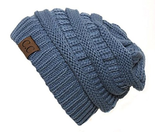 Chunky Collection - Shadana's Collection Trendy Warm Oversized Chunky Soft Oversized Cable Knit Slouchy Beanie (Mineral Blue)