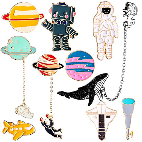 Gejoy 10 Pieces Enamel Pin Set Cartoon Lapel Brooch Space Badge Pin for Clothes Bag Jacket Backpack Decoration (Style Set 1) (Kawaii Pins)